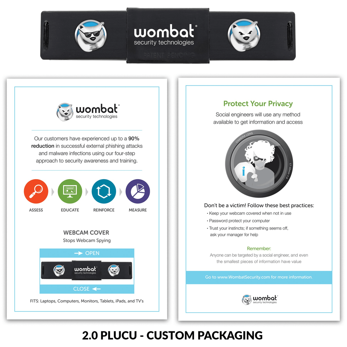 2.0 PLUS Webcam Cover with 3 Imprints & Custom Packaging