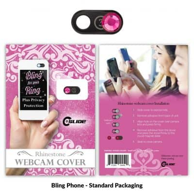 Webcam Cover Bling Phone Black Metal + Standard Packaging