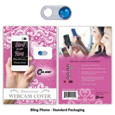 Webcam Cover Bling Phone Silver Metal + Standard Packaging