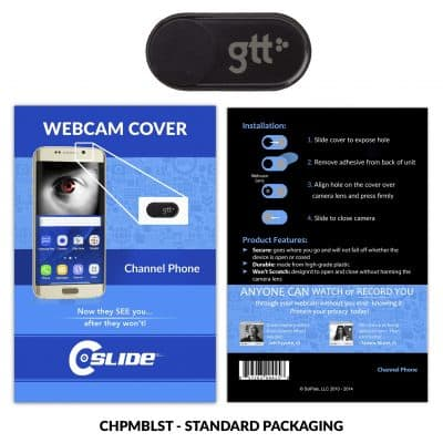 Webcam Cover Channel Phone Black Metal + Standard Packaging