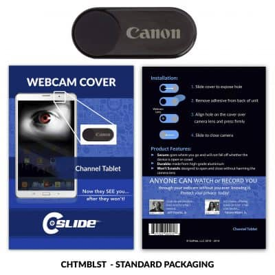 Webcam Cover Channel Tablet Black Metal + Standard Packaging