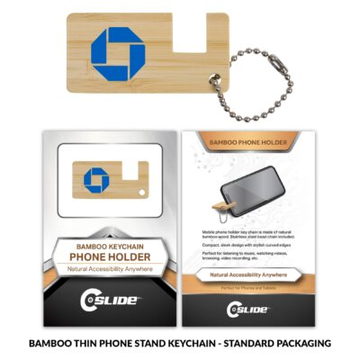 Bamboo Phone Stand Key-Chain Thin with Standard Packaging