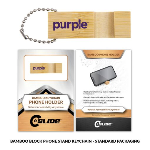 Bamboo Phone Stand Keychain Block with Standard Packaging