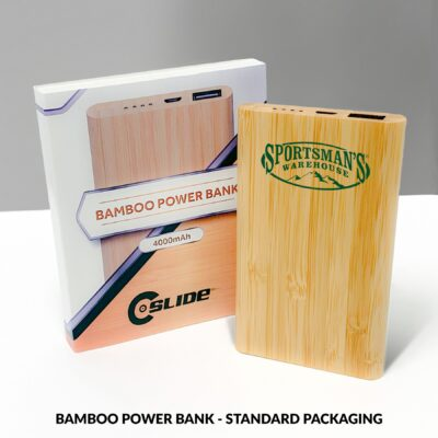Bamboo Power Bank 4000mAh with Standard Packaging